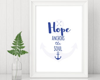 Christian Print | Christian Wall Art | Christian Gifts | Hope | Hebrews 6:19 | Inspirational Quote | Christian Wall Art | Faith Print