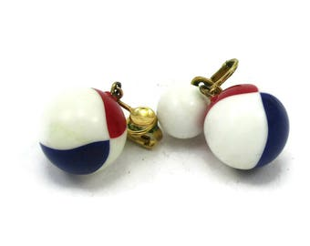 Crown Trifari  Red White Blue Lucite Earrings Dangle Drop Patriotic Modernist Vintage Costume Jewelry Designer Signed Clip Ons