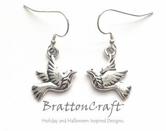 Silver Peace Dove Earrings - Peace Dove Earrings - Dove Earrings - Dove Jewelry - Peace Necklace - Bird Necklace