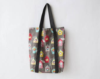 Beach bag cotton patterns birdhouses on a gray background, mother's day