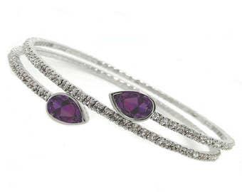 Rhodium Plated Crystal Amethyst Twisty Drop Bangle Bracelet, with Genuine SWAROVSKI Crystals®
