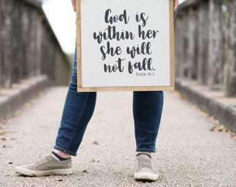 Framed Wood Sign, God is Within Her She Will Not Fall, Hand Painted Wood Sign, Rustic Home Decor, Bible Verse Art, Farmhouse Decor, Psalm 46