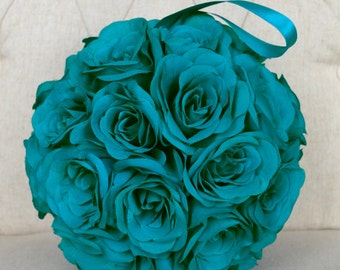 TEAL Kissing ball. Flower Ball. Pomander. Premium Soft Silk Roses. Wedding Decor. Flower Girl. Wedding Centerpiece.