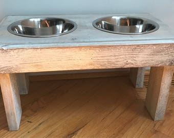 """Elevated reclaimed pallet furniture dog bowl stand distressed white finish. 22""""l X 12""""w X 11""""t"""