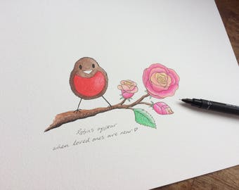 Personalised Robins with a Rose. Adorable hand drawn, painted and personalised Robins. Perfect gift for someone special