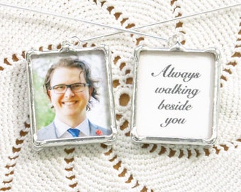 Boutonniere or Lapel Pin with memorial photo and or quote. 2 sided. Customized in silver or copper/gold.