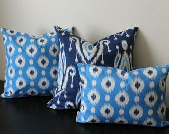 Decorative Throw Pillow, Ikat Covers,Set of Three,Blue White Navy Ikat Pillow Covers, Toss Pillows,Sofa Pillows, Bedroom Pillow, 12x18,18x18