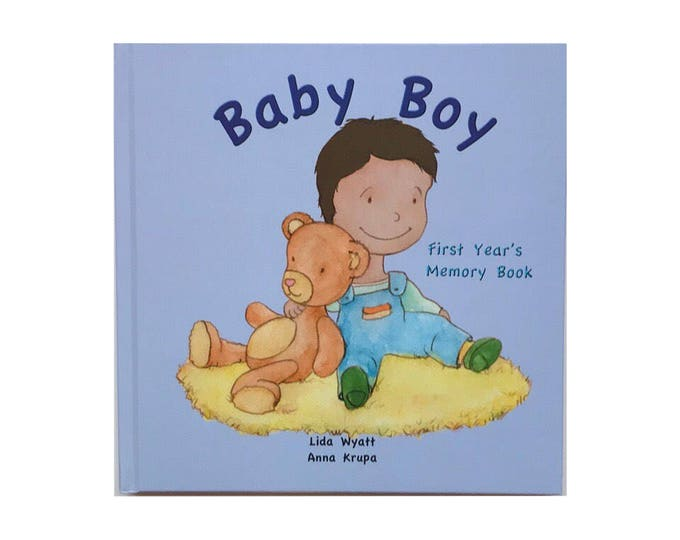 Baby Boy First Year's Memory Book - Dark Hair/Light Skin
