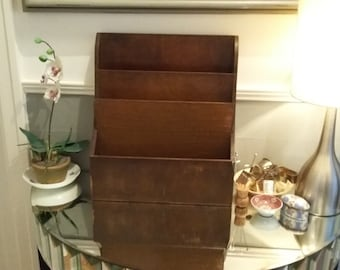 Vintage Oak Desk Tidy Three Tier Desk Storage Mid Century