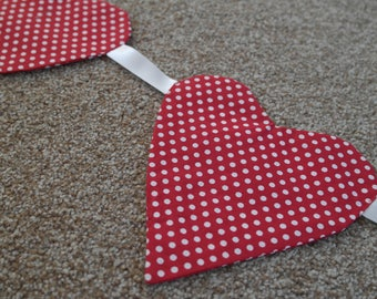 Bunting, Heart Bunting, Spotty, Spots, White spots, wall hanging, decoration, kitchen, fire place, bedroom, fun and funky