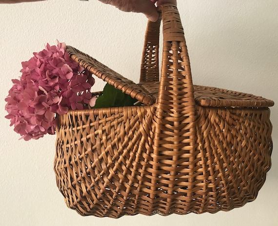 French basket | Picnic basket  | Rattan | Wicker | Shopping basket | Market bag | Handbasket | Vintage