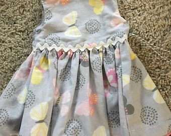 "18"" Doll Gray with Yellow and Pink Butterfly Dress"