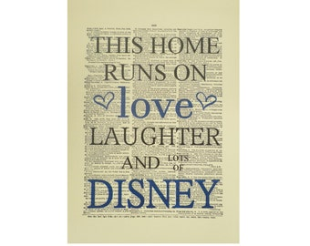 Vintage Inspired ' This Home Runs On Disney ' Dictionary Page Art Print P006