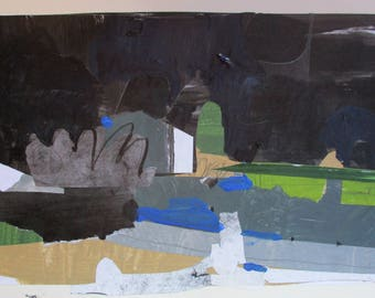 Night at Emma, Original Abstract Landscape Collage Painting on Paper, Stooshinoff