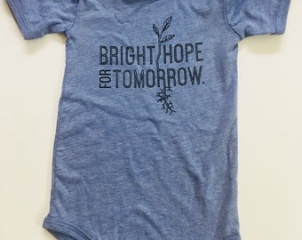 Bright Hope for Tomorrow, size 12-18 Months, Screen printed Baby one piece/romper, heathered blue with Black print