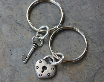 Key to my heart keychains  - two key rings, with heart lock & key charms - for couples and best friends - Free Shipping USA