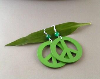 SALE - Wooden Peace Earrings
