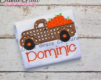 Pumpkin Truck Shirt, Boys Halloween Shirt, Pumpkin Patch Shirt,  Embroidered Applique Shirt or Bodysuit