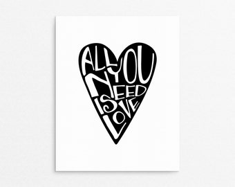 Home Art Wall Decor, All You Need Is Love, Typography Art, Heart, Scandinavian Decor, Love Poster