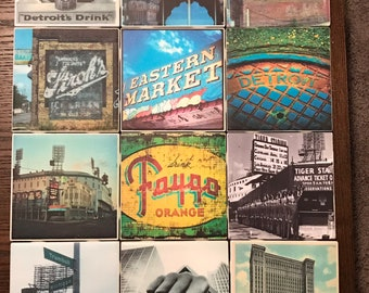 Vintage Detroit Themed Coasters! Set of 4 or contact me for larger orders