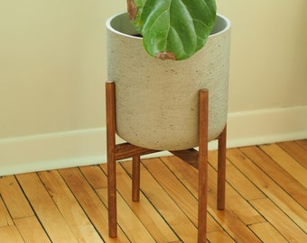 Mid century modern wood plant stand | Plant holder | Flower pot support base | Custom made in Canada