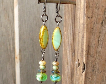 Dangle and Drop Earrings - Boho Dangle Earrings - Boho Drop Earrings - Long Dangle Earrings - Green Earrings - Bohemian Drop Earrings