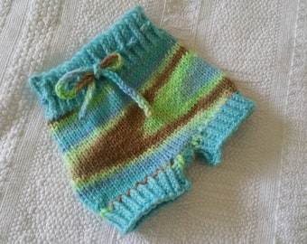 0-3 months Wool shorties diaper cover
