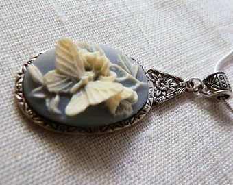 Necklace, Blue, Butterfly, Sterling, Snake Chain   3053