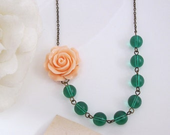 Spring Peach Rose Necklace. Nature Earth Inspired. Light Peach Rose Flower & Green Glass beads Antiqued Chain Floral Necklace