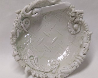 BioIndustrial Baroque Dish with Bungie Cord in Translucent Porcelain