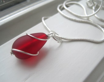 Red Glass Jewelry - Red Bridesmaid Jewelry - Recycled Glass Jewelry - Bridesmaid Gift Sets - Cultured Sea Glass  - Gifts for Her