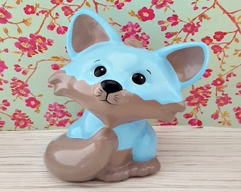 Blue Fox Piggy Bank, Fox Piggy Bank, Piggy Bank, Fox Bank, Fox Nursery Decor, Baby Piggy Bank, Piggy Bank for Kids, Baby Bank, Baby Gift