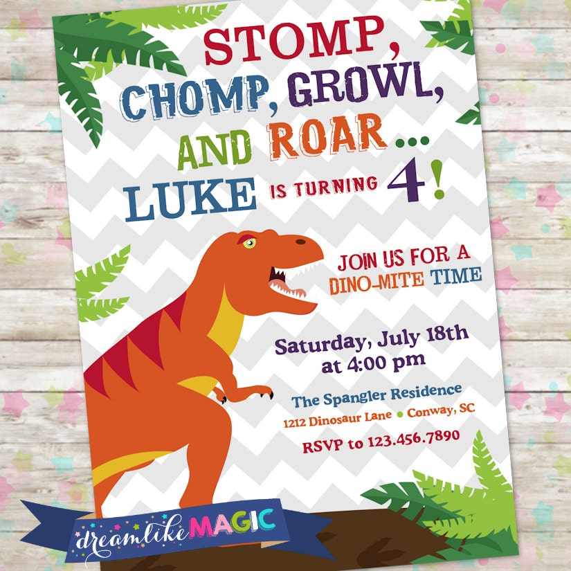 Dinosaur Invite Dino Birthday Party TRex Birthday Invite