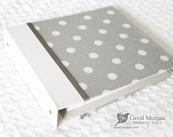 0 to 12 months Baby Memory Book - Grey Polka Dotted