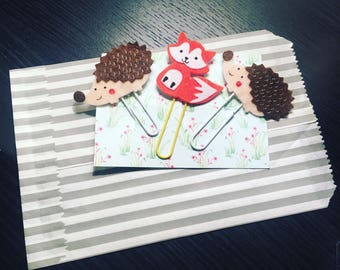 Paperclips hedgehog/fox paperclip set of 3