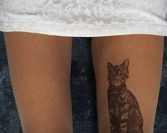 Original drawing on  tights. Cat tattoo pantyhose