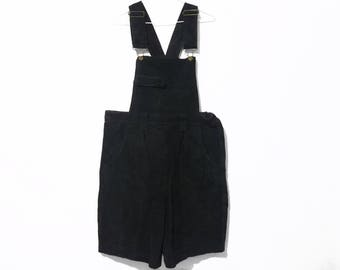 80s Vintage Black Leather Short Overalls