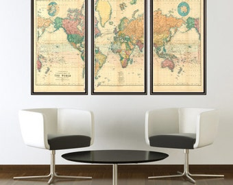 Beautiful chinese world map 1674 2 pieces beautiful world map vintage atlas 1898 mercator projection 3 pieces gumiabroncs Choice Image