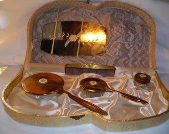 Vintage Art Deco Dresser Set - Gold with Porcelain Rose Vintage Farmhouse Style Vintage Elegance Vintage Wedding Gift