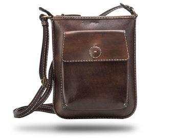 Leather Messenger Bag,Minimalist Bag,HandMade,HandPainted,HandStitch-Model#2021