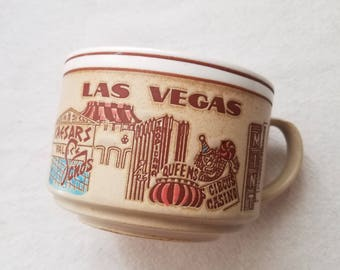 Las Vegas Nevada Souvenir Mug Stoneware Pottery Large Heavy Soup Coffee Tea Cup Collectable Casino 1970s Made in Japan