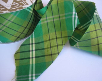 """Meadow Gala green and navy plaid Dupioni Ribbon 2"""" wide sold by the yard"""