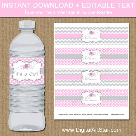 Pink Elephant Baby Shower Water Bottle Labels Pink Gray