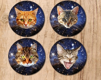 Cats in space, cat coasters, space cats coaster set, housewarming gift, outer space, galaxy, round coaster, 4 coaster set, cat decor, cats