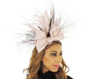 Gavriel Baby Rosa schwarzer Fascinator Hut für Kentucky Derby, Hochzeiten & Bälle