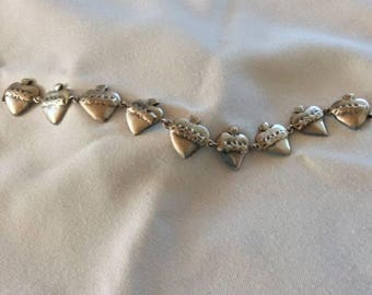 "Sterling Silver ""Burning Heart"" Link Bracelet"