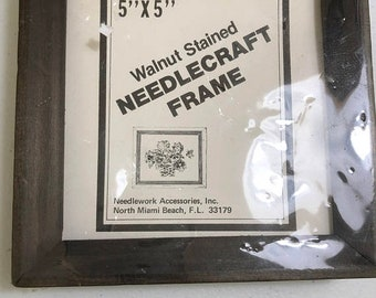 MAYniaSALE Vintage Walnut Stained Needlecraft Frame 5 by 5 inch NIP