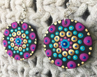 mandala earrings - hand-painted - lightweight wooden painted earrings - wood slice earrings - mandala jewelry - boho jewelry - ooak gift