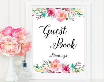 Guest Book Sign, Printable Wedding Guest Book Sign, Wedding Guest Book Sign, Boho Guest Book Sign, Floral Sign Download, Guest Book Print