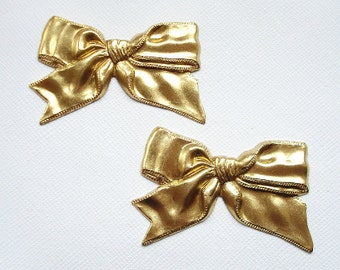 2 Raw Brass Bow Stampings